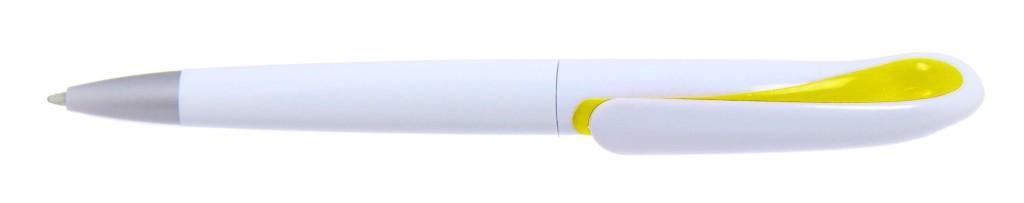 """1011A-5(1011C-5_hc B 1011A """"Капля"""" Ручка пластиковая с поворотным механизмом, цвет бело-жёлтый"""