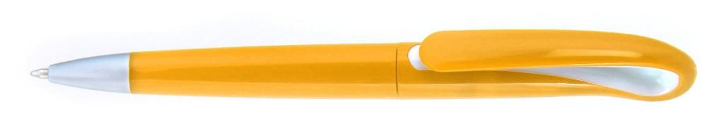 """1012С """"Капля"""" Ручка пластиковая с поворотным механизмом, цвет оранжево-белая, купить пластиковые ручки в Херсоне, ручки с печатью в Херсоне, печать на ручках , ручки с логотипом Херсоне"""