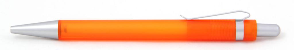 В 1535  Ручка пластиковая шариковая автоматическая с кнопкой, цвет оранжево-серый, купить пластиковые ручки в Макеевке, ручки с печатью в Макеевке, печать на ручках , ручки с логотипом Макеевка