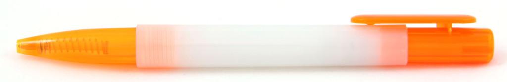 В 1551 Ручка пластиковая шариковая автоматическая с кнопкой, цвет бело-оранжевый, купить пластиковые ручки в Ордженикидзе, ручки с печатью в Орджениеидзе, печать на ручках , ручки с логотипом Ордженикидзе