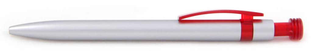 В 1630В Ручка пластиковая шариковая автоматическая с кнопкой, цвет серебристо-красная, купить пластиковые ручки маленькими тиражами, ручки с печатью маленькими тиражами, печать на ручках , ручки с логотипом мелкие тиражи