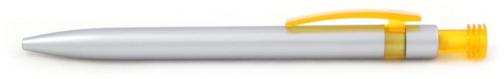 В 1630В Ручка пластиковая шариковая автоматическая с кнопкой, цвет серебристо-желтая, купить пластиковые ручки для, ручки с печатью, печать на ручках , ручки с логотипом