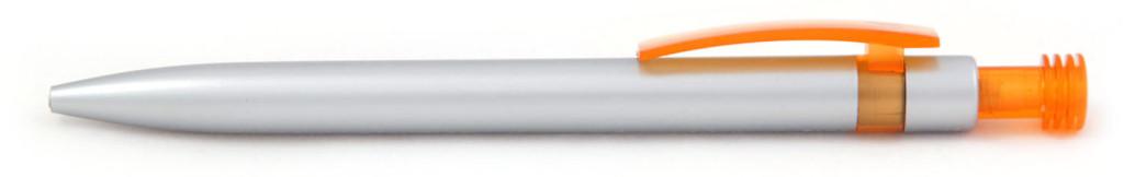 В 1630В Ручка пластиковая шариковая автоматическая с кнопкой, цвет серебристо-оранжевая, купить пластиковые ручки для, ручки с печатью, печать на ручках , ручки с логотипом