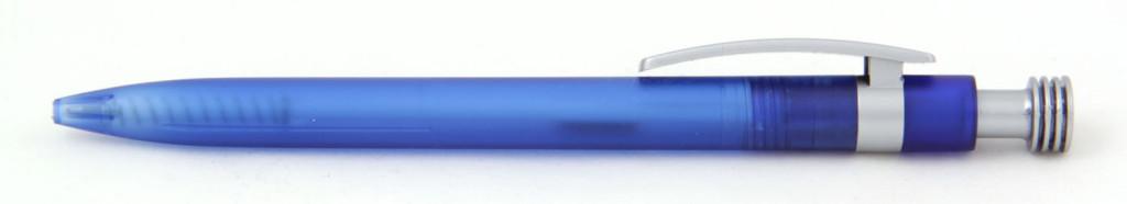 В 1630 Ручка пластиковая шариковая автоматическая с кнопкой, цвет сине-серый, купить пластиковые ручки в PromoZP, ручки с печатью в PromoZP, печать на ручках , ручки с логотипом Promozp