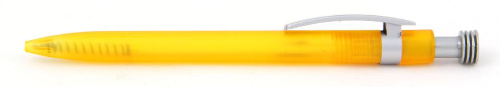 В 1630 Ручка пластиковая шариковая автоматическая с кнопкой, цвет жёлто-серый, купить пластиковые ручки в Тёсса, ручки с печатью в Тёсса, печать на ручках , ручки с логотипом Тёсса