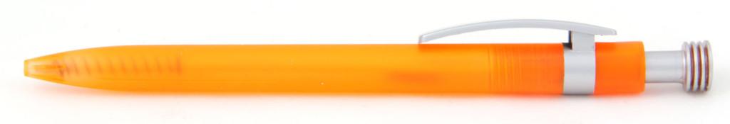 В 1630 Ручка пластиковая шариковая автоматическая с кнопкой, цвет оранжево-серый, купить пластиковые ручки оптом, ручки с печатью оптом, печать на ручках , ручки с логотипом опт