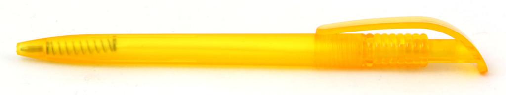 1729-5 В 1729 Ручка пластиковая шариковая автоматическая клип-кнопка, цвет матовый жёлтый, пластиковые ручки, ручки с логотипом