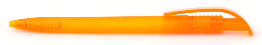 В 1729 В 1729 Ручка пластиковая шариковая автоматическая клип-кнопка, цвет матовый оранжевый, печать на ручках, ручки с логотипом