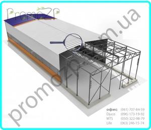 Быстровозводимый ангар, быстровозводимые каркасные ангары, агар каркасный двухскатного типа, www.promozp.com.ua