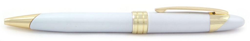 701М-8 B 701М-8 Ручка металлическая, с поворотным механизмом, белая с золотом, ручки рекламные, граверовка на ручках