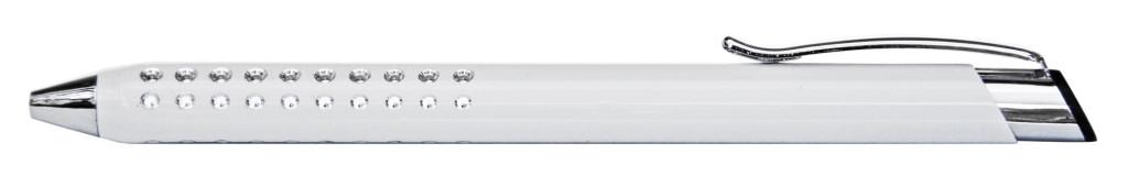 9374M-8 B 9374M Ручка металлическая, автоматическая, белый с серебром, лазерная гравировка, гравировка