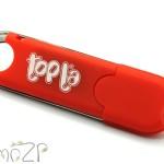 P19 флешка пластиковая в красном корпусе с колпачком на защёлке, флешки под печать