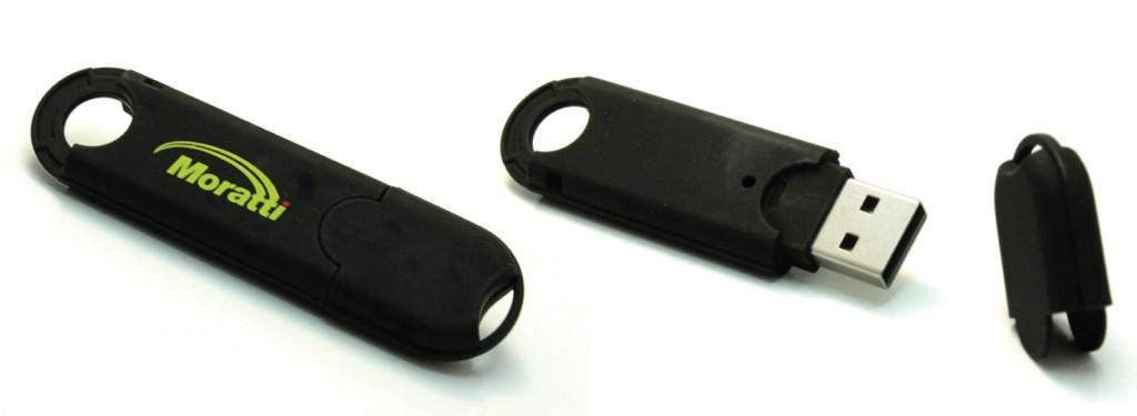 P19 флешка пластиковая в чёрном корпусе с колпачком на защёлке, флешки под печать, печать на флешках, брендирование флешек